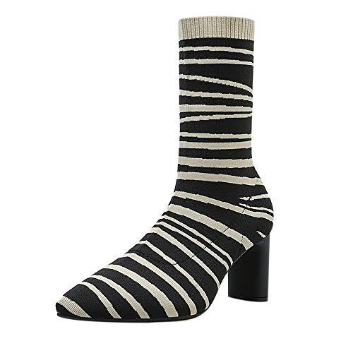 BURFLY Damen-Zebra-Print mit hohen Absätzen, Stretch-Damenstiefel für Damen und Outdoor-Plattformstiefel Zebra Wedge Flip Flop