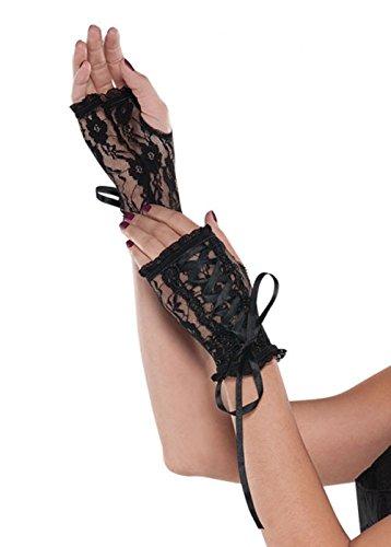 Damen 80er Jahre Lace Up Black Lace Fingerlose Handschuhe