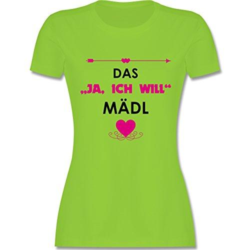 """JGA Junggesellinnenabschied - Das """"Ja, ich will"""" Mädl - tailliertes Premium T-Shirt mit Rundhalsausschnitt für Damen Hellgrün"""