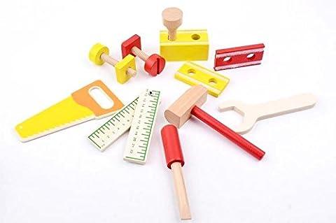 B&Julian® Werkzeug Kinder Holz 12 tlg. Zubehör Handwerker Set für Kinder Spielwerkzeug Rollenspiel