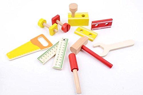 Preisvergleich Produktbild B&Julian® Werkzeug Kinder Holz 12 tlg. Zubehör Handwerker Set für Kinder Spielwerkzeug Rollenspiel