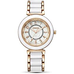 TIME100 Fashion Diamond Natural Fritillaria Dial White&Rose Golden Acrylic Band Ladies Watch #W50149L.06A