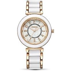 TIME100 Fashion Diamond Natural Fritillaria Dial White&Rose Golden Acrylic Band Ladies Watch #W50149L.06A