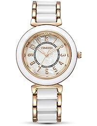 Time100 - Montre Quartz Bracelet Placage en Alliage Acide Acrylique Cadran Fritillaire Naturelle Femme Blanche et Rose d'or - W50149L.06A