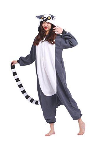 Onesie Sleepsuit Kigurumi Animal Cosplay Pyjamas Costume, Ring Schwanz Lemur L (Height:170-180cm) (Lemur Schwanz Kostüm)