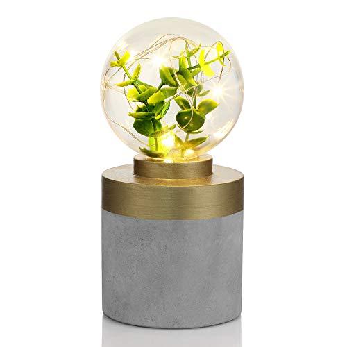 SONGMICS Nachtlicht, Stimmungslicht, mit Betonsockel, innen mit dekorativer Lichtkette, künstlichen Pflanzen, im Industriedesign, batteriebetrieben, für Schlafzimmer, Wohnzimmer, grau, golden, FSL20GY
