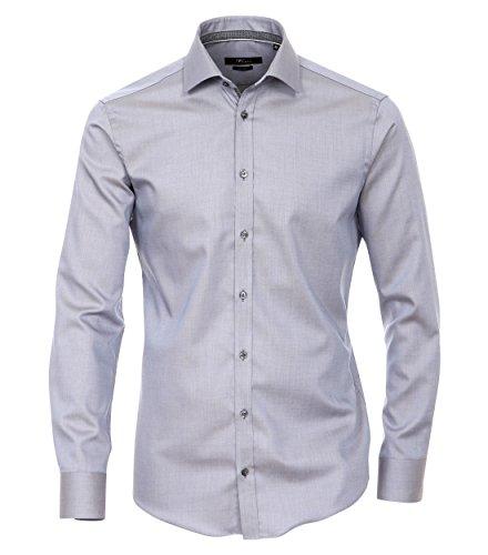 MichaelaX-Fashion-Trade - Chemise business - Uni - Col Chemise Classique - Manches Longues - Homme Gris - Grau (700)