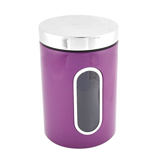 Purple : Sellify Stainless Steel Cylinder Shape Airtight Canister Food Container Purple