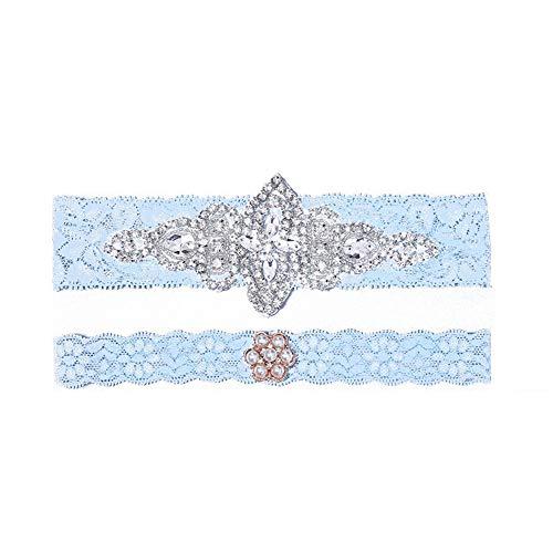 Liuzecai Brautstrumpfband Spitze-Brauthochzeits-Strumpfband-Blaue Strumpfband-Hochzeits-Bevorzugungs-Braut, zum Henne-Party-Nacht zu Sein (Color : Blue, Size : Free Size)