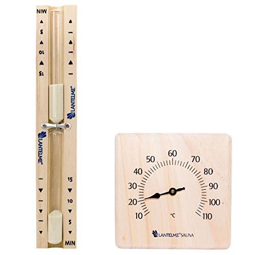 2 tlg. Sauna Set mit Sanduhr 15 Minuten und Bimetall, Analog Thermometer aus Kiefer massiv