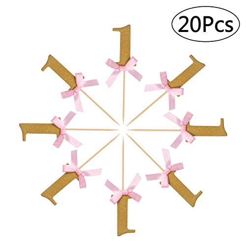 ultnice 20 Gold Kuchen Topper Schleife 1st Birthday Cake Topper Anniversary Party Cupcake Dekoration