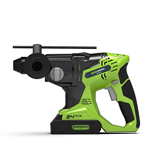 Greenworks Akku- Bohrhammer 24 V, SDS Plus, 1,8 J, Schlagzahl: 5600 min-1 mit Tiefenanschlag