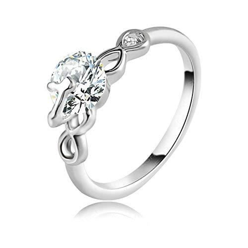 Coniea anelli placcato argento anello oro bianco e diamanti anelli donna fedina zircone a cuore svuotato bianco 7mm taglia 22
