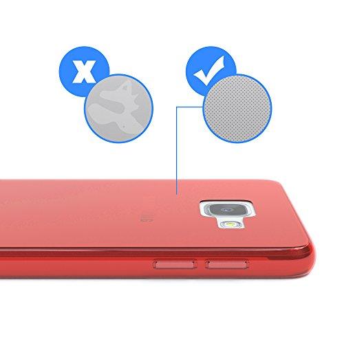 Samsung Galaxy A3 (2016) Hülle - EAZY CASE Ultra Slim Cover Handyhülle - dünne Schutzhülle aus Silikon in Transparent Clear Rot