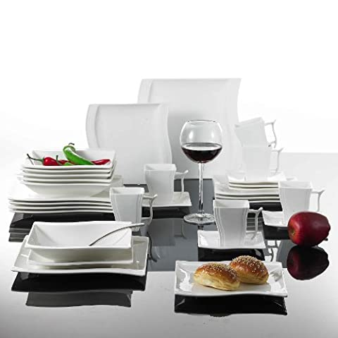 Malacasa, Série Flora, 30pcs Service de Table Tasses, Sous-tasses, Assiettes à Dessert Soupe Plates