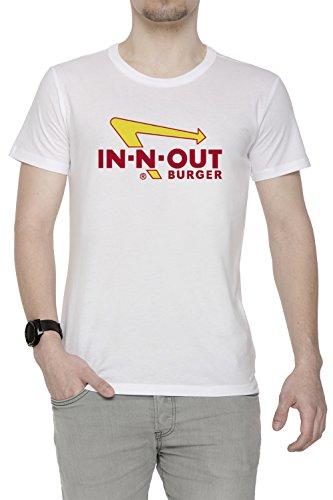 Burger Weißes T-shirt (In Out Burger Merchandise Herren T-Shirt Rundhals Weiß Kurzarm Größe S Men's White Small Size S)