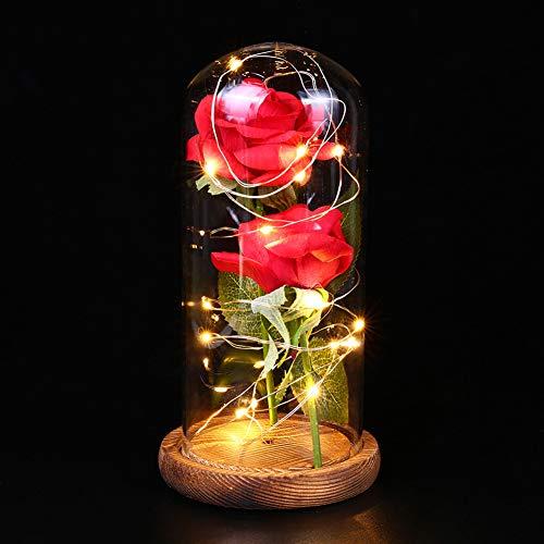 (Homeofying Romantische Rose LED Glasflasche Lampe Nachtlicht Home Room Decor Valentine for Your Lover Sweetheart Dekorative Lichter braun)