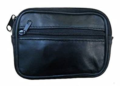 Black Leather Zipped Coin Key Purse