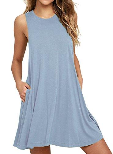 Loose-fit Ärmelloses (LILBETTER Frauen Ärmelloses Casual Loose Fit T-Shirt Tunika Kleid Swing Kleid (Hellblau XL))