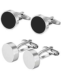 FLORAY 2 paire de boutons de manchette Couleur noir et argenté rondes de conception de style simple