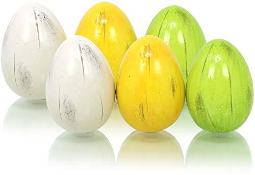 com-four® 6 Oeufs de Pâques en céramique Verte, Jaune et Blanche, décoration pour Pâques (06 pièces - Oeuf en céramique Petit / 6.5cm)