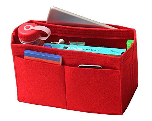 [Passt verschiedene Taschen, L.V. Her.mes Long.champ Go.yard] Filz Tote Organizer (w/Milk Wasserflaschenhalter), Geldbörse einfügen, Kosmetik-Make-up Windel Handtasche, Taschen (Cherry Red Hot)