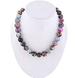 Kastiya Jewels Multi Colored Jade Quartz Semi Precious Gemstone Beads Necklace For Women & Girls