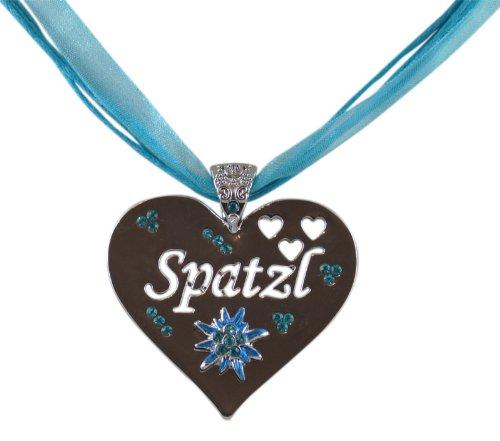 Trachtenschmuck Herz mit Kristallen Blue Zircon türkis- hochglanz poliert – Spatzl sowie Herzen...
