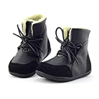 Yooeen Kids Winter Warm Boots Leather Waterproof Snow Boots Faux Fur Lined Lace-up Outdoor Walking Shoes Size 5-12.5 UK Child