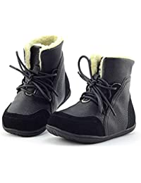 Yooeen Winter Fur Lined Boots Boys Warm Snow Boots Kids Outdoor Walking  Shoes Girls Waterproof Leather Lace-up… a56989ea9
