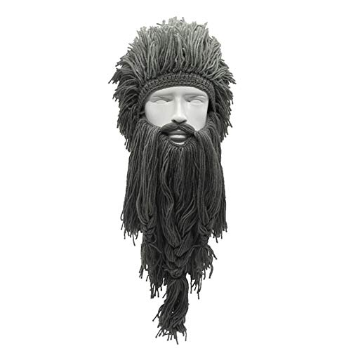 erücke Lange Bart Viking Hut Unisex Winter Warm Kreative Cosplay Barbarische Mütze Lustige Crazy Ski Maske Caps, Gray ()