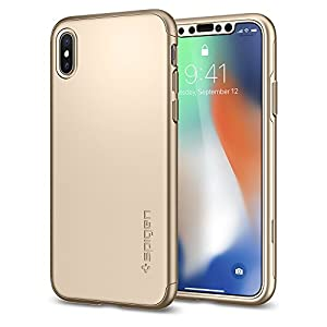 Spigen Coque iPhone X, [Thin Fit 360] Exact-Fit [Or] [2pack] 360 Degres + Protection écran en Verre trempé Integrale Coque pour iPhone X (2017) - (057CS22646)