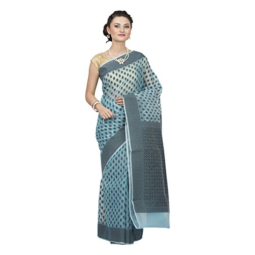 Craftghar Organza Saree With Blouse Piece (X-07-003-Sre_Blue_Free Size)