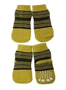 "UrbanPup Yellow-Green Striped Pet Socks (Large - Dog Foot Width: 1.5"" / 35mm) from UrbanPup"