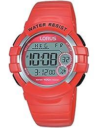 Lorus Watches - R2327KX9 - Montre Femme - Quartz Digitale - Chronomètre/Alarme/Boussole/Fuseaux horaires - Bracelet Caoutchouc Orange