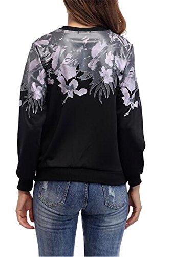 AILIENT Donna Maglietta Manica Lunga Girocollo Allentato Camicetta T-Shirt Top Casuale Felpe Stampa Floreale Pullover Per Le Donne Black
