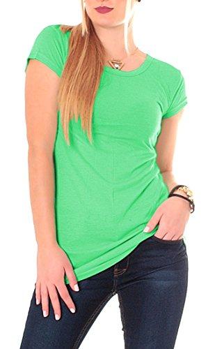 Easy Young Fashion Damen Basic T-Shirt Lang Apfelgrün