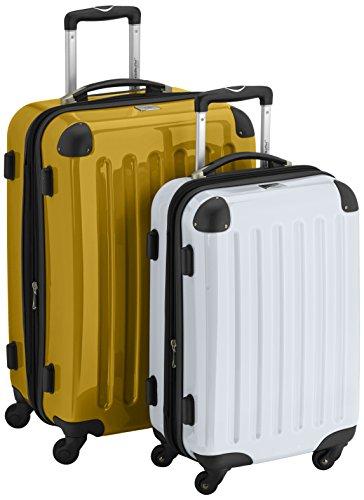 HAUPTSTADTKOFFER - Alex - 2er Koffer-Set Hartschale glänzend, 65 cm + 55 cm, 74 Liter + 42 Liter, Graphit-Blau Gelb-Weiß