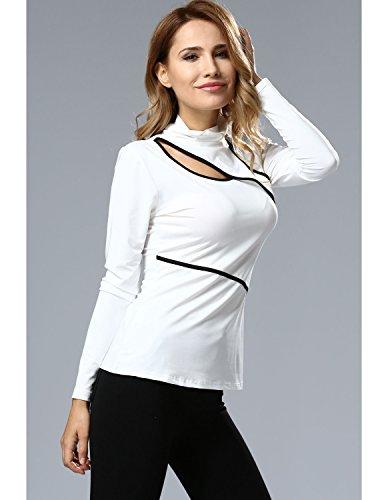 MODETREND Damen Langarmshirt Langen Ärmeln Asymmetrisch Hoch Hals Blusen Elegant T-Shirt Oberteil Tops Weiß