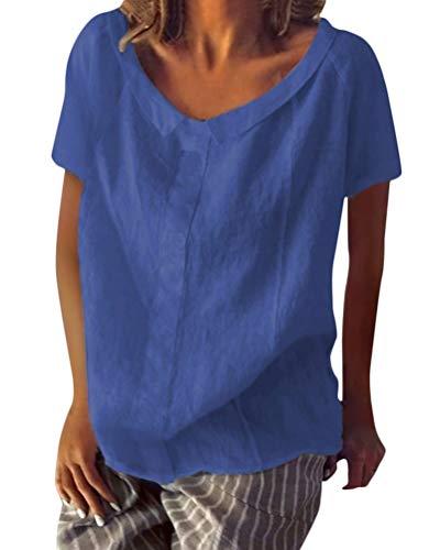 Shallood Minetom Sommer Neu Damen Große Größen Leinen Einfarbig mit Rundhals Kurzarm T-Shirt Lose Tops Oberteile Bluse A Blau DE 36 - Leinen Bluse Top