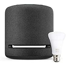 Echo Studio + Philips Hue White and Colour Ambience Smart Bulb LED (B22) | Bluetooth & ZigBee compatible (no hub required), Works with Alexa