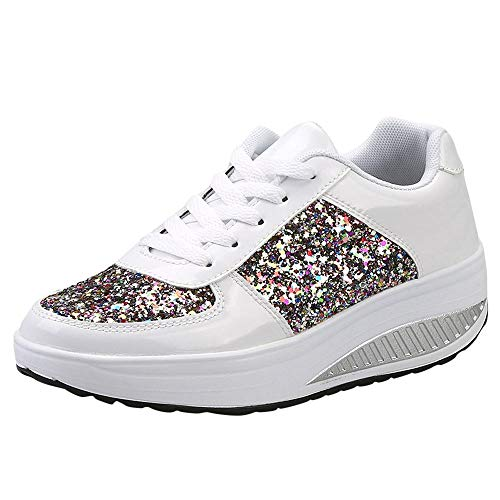 ers Fashion Sequins Shake Shoes Lightweight Trainers Sport Lace-up Walking Shoes ()