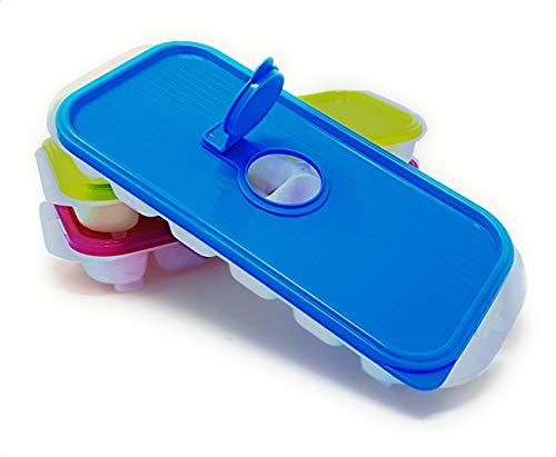 Pilix Eiswürfelform/Eiswürfelbehälter/mit Deckel/BPA frei / 3 Stück/Einfüllöffnung/Füsse/für 18 x 3 Eiswürfel / 3,8 x 25,5 x 11,3 cm/Form für Eiswürfel
