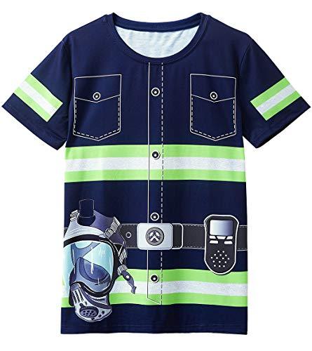 Cosavorock T-Shirt in Costume da Vigile del Fuoco da Uomo (L, Blu Navy)