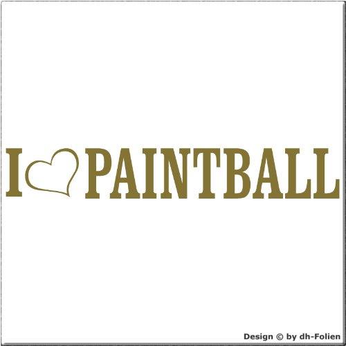 cartattoo4you AL-00872 | I LOVE (als Herz) PAINTBALL | Autoaufkleber Aufkleber FARBE gold , in 23 weiteren Farben erhältlich , glänzend 20 x 3 cm Waschstrassenfest Versandkostenfrei , Motiv Copyright by dh-Folien
