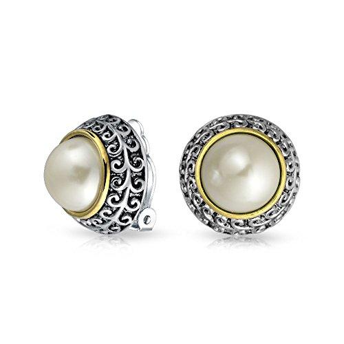Bali Stil Zwei Ton Weiß Simulierten Perle Ohrclips Ohrringe Für Damen Nicht Durchbohrt Ohr Silber Vergoldet Legierung