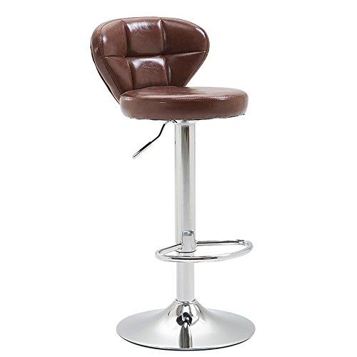BTPDIAN Kunstleder Küche Frühstück Bar Stuhl mit Rückenlehne Unterstützung Armlehnen höhenverstellbar Starke Chrom Basis maximale Belastung Küche bar (Farbe : Brown, größe : 60-80cm)