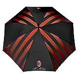 AC Milan Regenschirm - Automatische Öffnung - Original Milan Stockschirm mit Streifen und offizielles Emblem - Schwarz und Rot - Durchmesser 116 cm