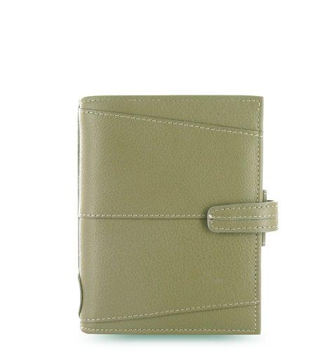 Filofax Aston Leather Pocket Organiser for Refills 81x120mm Mushroom Green Ref 011546F