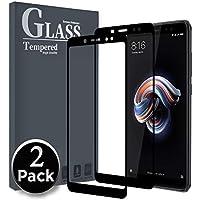 Ferlinso [2 Pack] Vetro Temperato Xiaomi Redmi Note 5,[copertura totale] [colla completamente adesiva] [autoassorbimento] [corretto] Pellicola protettiva per vetro temperato senza bolle(Nero)